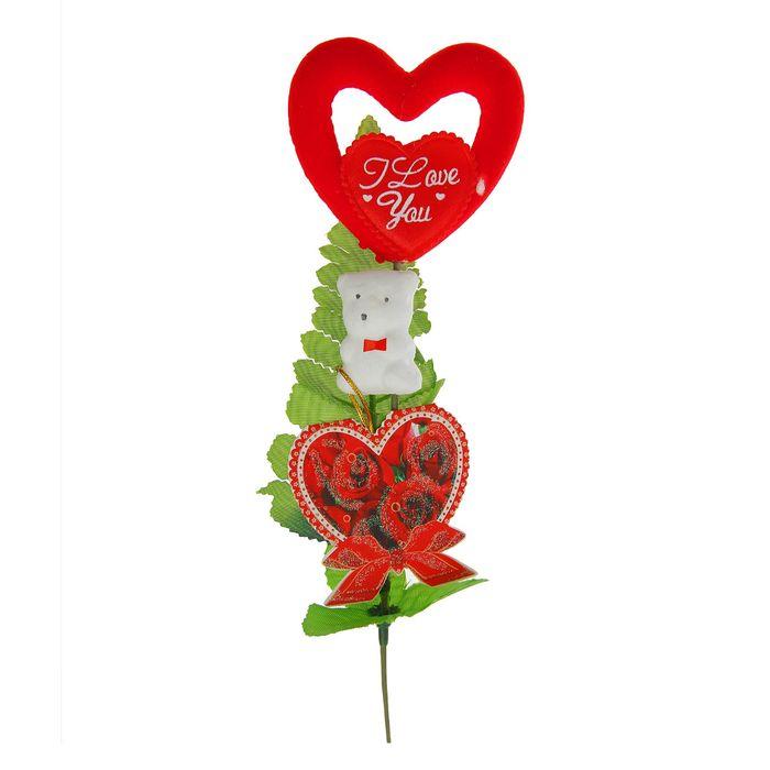 """Декор-украшение для букетов """"Мишка с сердечком"""""""