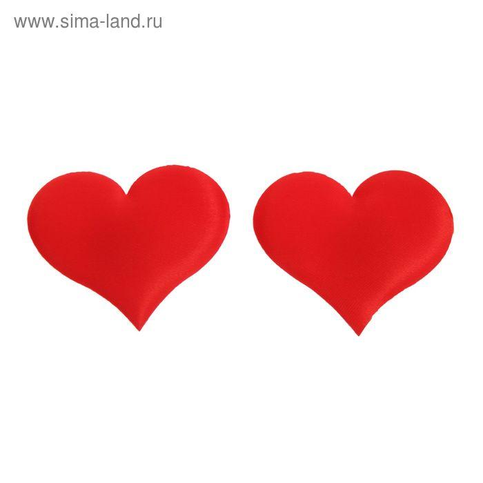 """Сердечки-наклейки """"Однотонные"""", набор 12 шт., цвет красный"""