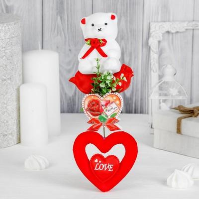 Декор-украшение для букетов «Мишка с цветочком»