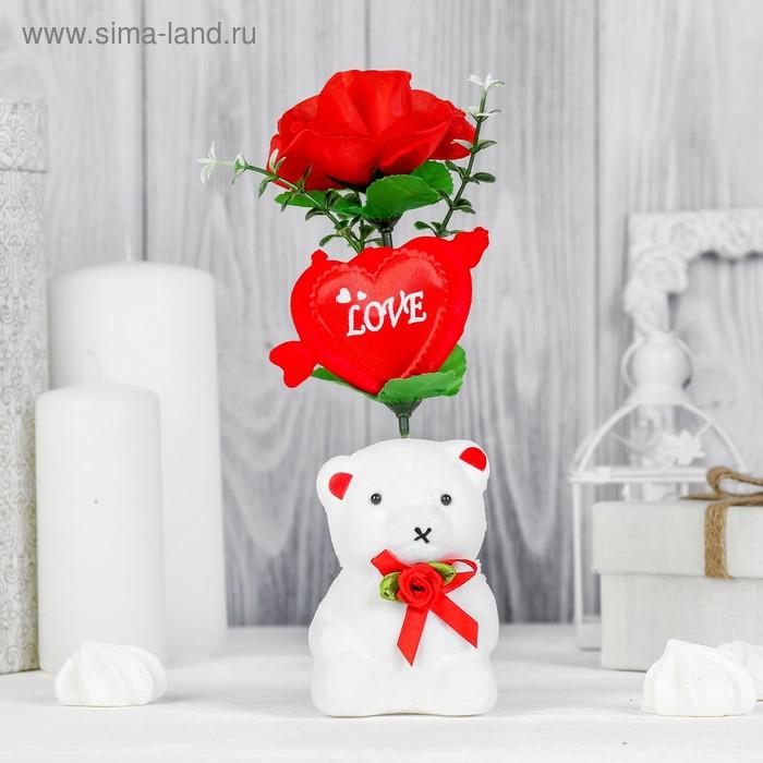 """Декор-украшение для букетов """"Мишка с бантиком"""" с сердечком и цветочком"""