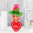 """Декор-украшение для букетов """"Розовый мишка с бантом"""