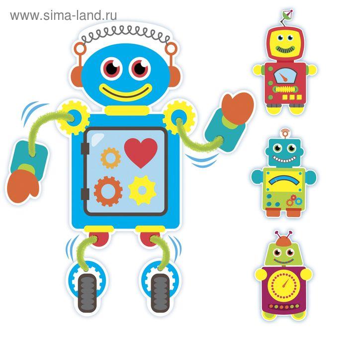 """Набор для создания игрушки на присосках """"Роботы"""" + меховые палочки, присоски"""