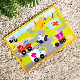 Развивающий коврик-пазл «Транспорт», 28 элементов, цвета МИКС Ош