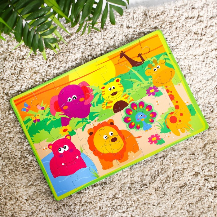 Развивающий коврик - пазл «Зоопарк», 28 элементов