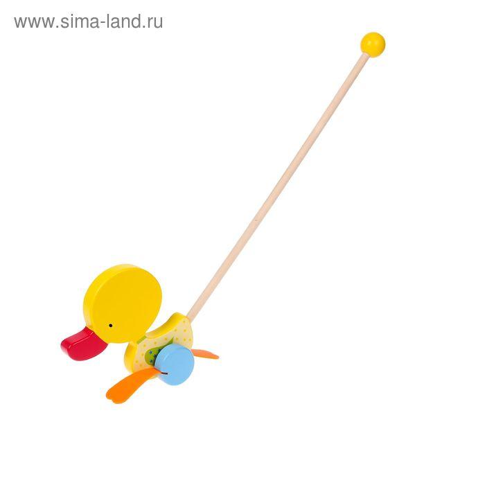 """Каталка на палочке из массива дерева """"Утёнок"""" с резиновыми лапками"""