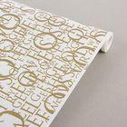 """Бумага упаковочная белая, """"Letters"""", белый-золотой, 0.7 х 10 м"""