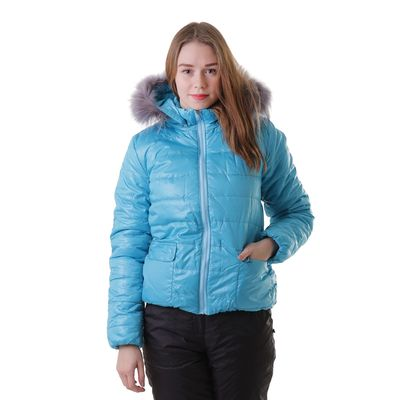 """Куртка женская с мехом """"ПАУЛА"""", размер M-46, цвет аква"""