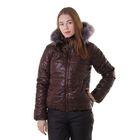 """Куртка женская с мехом """"ХЛОЯ"""", размер 42 (XS), цвет шоколад"""
