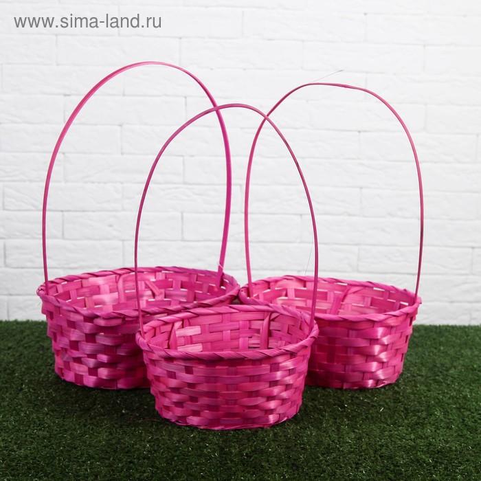 Набор корзин плетёных, розовых, бамбук, 3 шт.