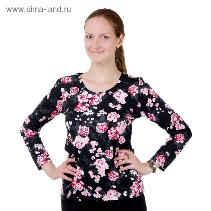 """Блузка женская """"Афелия"""", цвет чёрный, размер 46"""