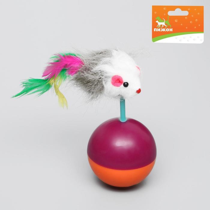 Мышь-неваляшка из натурального меха на шаре, 11 х 5 см микс цветов