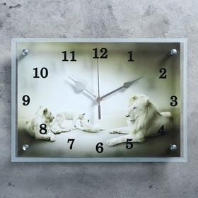 """Часы настенные, серия: Животный мир, """"Белые львы""""25х35 см, стрелки микс"""