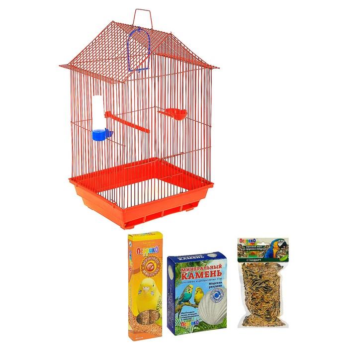 Подарок для крупных птиц: клетка 35 х 28 х 55 см, корм, лакомство, ракушечник, минеральный камень