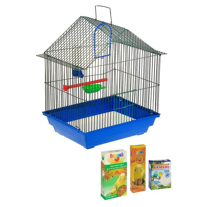 Новогодний подарок для волнистого попугая: клетка, корм, лакомство, песок, минеральный камень, зольный щелок