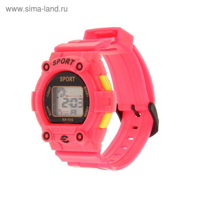 Часы наручные жен. электронные, с силик/ремешком, циферблат круг розовые 22*1,5*4 см.