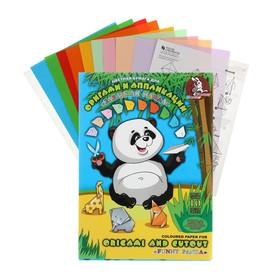 Бумага цветная для оригами и аппликации А4, 10 листов, 10 цветов «Забавная панда», со схемами, 80 г/м2