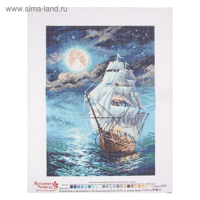"""Рисунок на канве """"Ночной морской пейзаж"""" 37 х 49 см"""