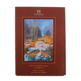 Папка для работ гуашью и акварелью А3, 20 листов «Палаццо. Весенний лес», блок 160 г/м²