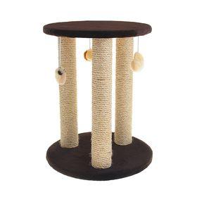 Комплекс с тремя столбиками-когтеточкой и полкой, 40 х 40 х 60 см, микс цветов