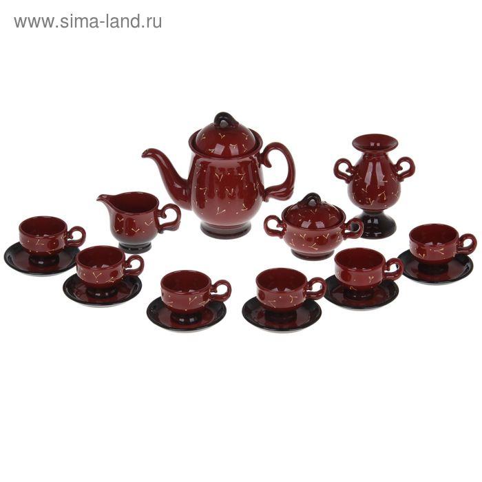"""Сервиз кофейный """"Изыск"""", 16 предметов (чашка 200 мл, чайник 500 мл, сливочник 200 мл)"""