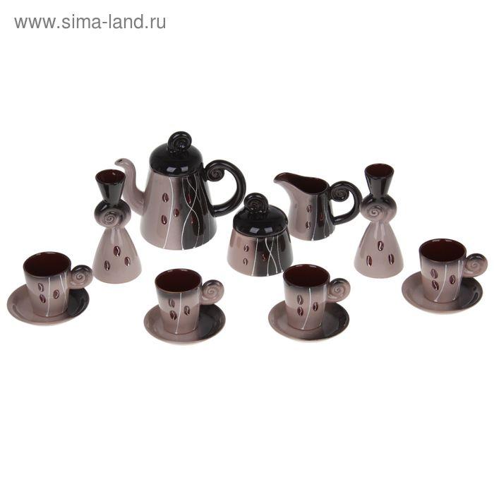 "Сервиз кофейный ""Арабика"", 13 предметов (чашка 200 мл, чайник 500 мл, сливочник 100 мл)"
