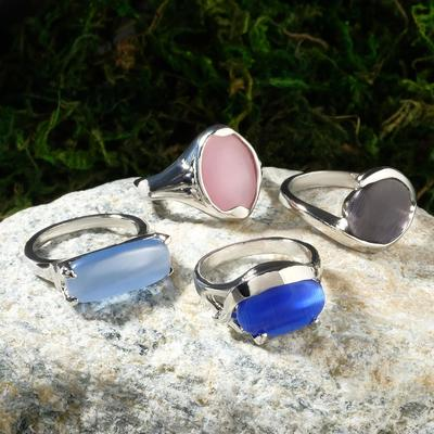 """Ring """"Cat's eye"""" oval large, color MIX, size MIX"""
