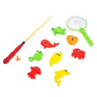 """Fishing magnetic """"Sea inhabitants"""" of 10 items: 1 fishing rod (DL.26cm), 1 net, 8 toys, color MIX"""