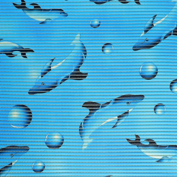 Коврик напольный ПВХ «Дельфины», ширина 65 см, рулон 15 м, цвет голубой