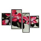 """Модульная картина в раме """"Розовая орхидея на чёрных камнях"""", 2 шт. — 25×35, 20×60, 30×60, 70×100 см"""