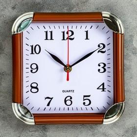 Часы настенные квадратные Flat, 19,5 × 19,5 см, рама коричневая, углы хром Ош