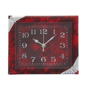 Часы настенные прямоугольные 'Дженна', углы-бантики хром, рама и циферблат бордовые Ош