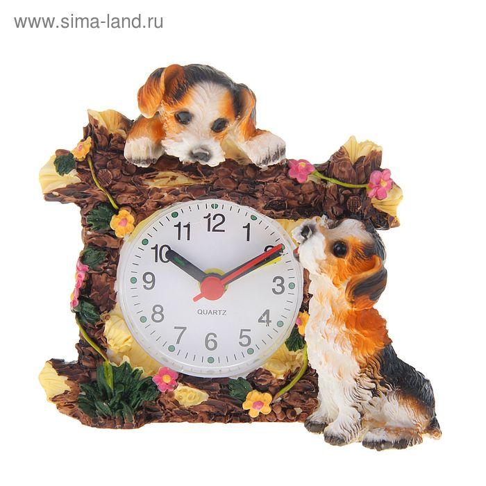 Будильник серия Щенки. Любознательные щенята, 10,5*5*9,5см,полистоун