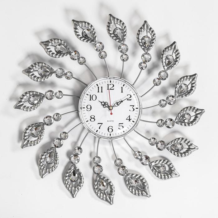 """Часы настенные, серия: Ажур, """"Перья"""", плавный ход, 38 х 38 см, d циферблата=13 см - фото 1625398"""