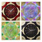 Часы настенные квадратные East, 22,5 × 22,5 см, углы золотистые, рама микс
