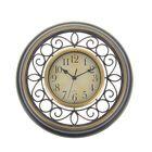 """Часы настенные круглые """"Завитки"""", d=35 см, пустотелый корпус под бронзу, витки чёрные"""