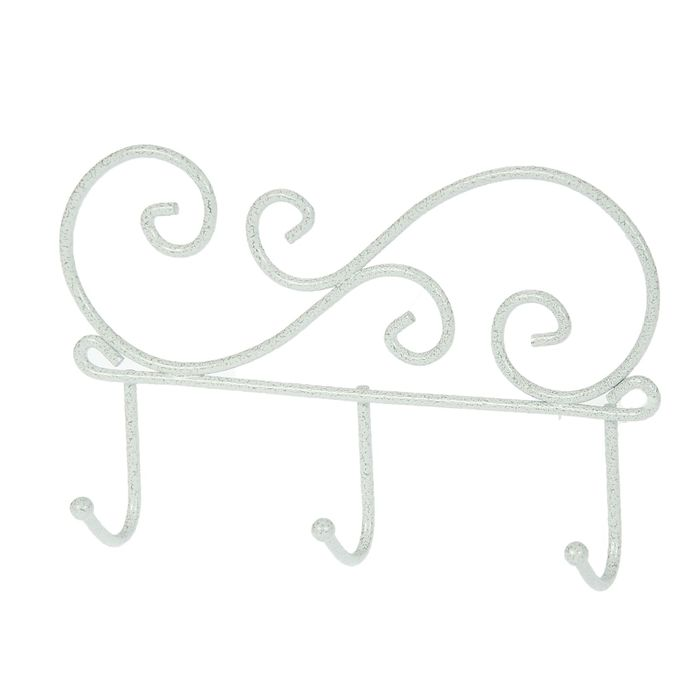 Вешалка настенная на 3 крючка «Кружева 3», 20×4×13 см, цвет белое серебро - фото 4642165