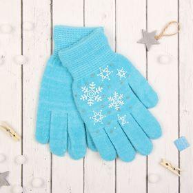 """Перчатки с шерстью молодёжные Collorista """"Снежинки"""", размер 20, цвет голубой"""