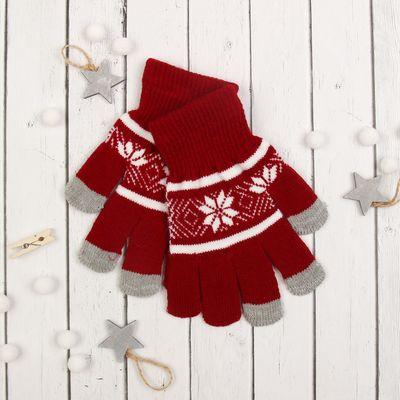 """Перчатки с шерстью молодёжные Collorista """"Зимний узор"""", размер 18, цвет бордовый"""