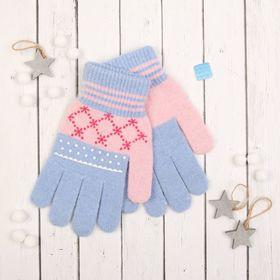 """Перчатки с шерстью молодёжные Collorista """"Зимушка"""", размер 21, цвет голубой"""