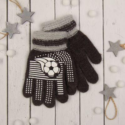 """Перчатки с шерстью детские Collorista """"Футбольный мяч"""", размер 16, цвет коричневый"""
