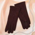 """Перчатки женские Collorista """"Роза вышивка"""", размер 9, цвет коричневый"""