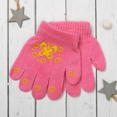"""Перчатки для девочки Collorista """"Бабочка"""", размер 14, цвет розовый/зелёный"""