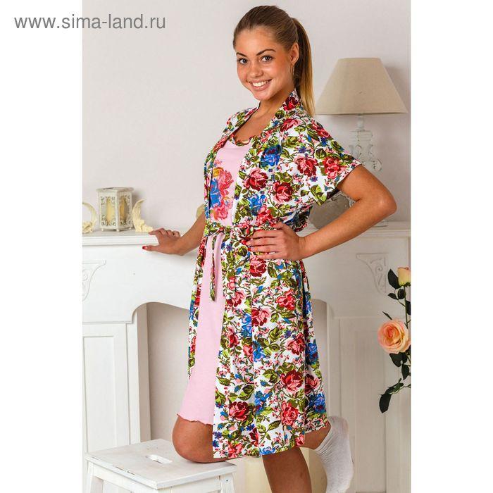 Комплект женский (халат, сорочка) 8336 розовый/синий, р-р 44 фуллайкра/кулирка