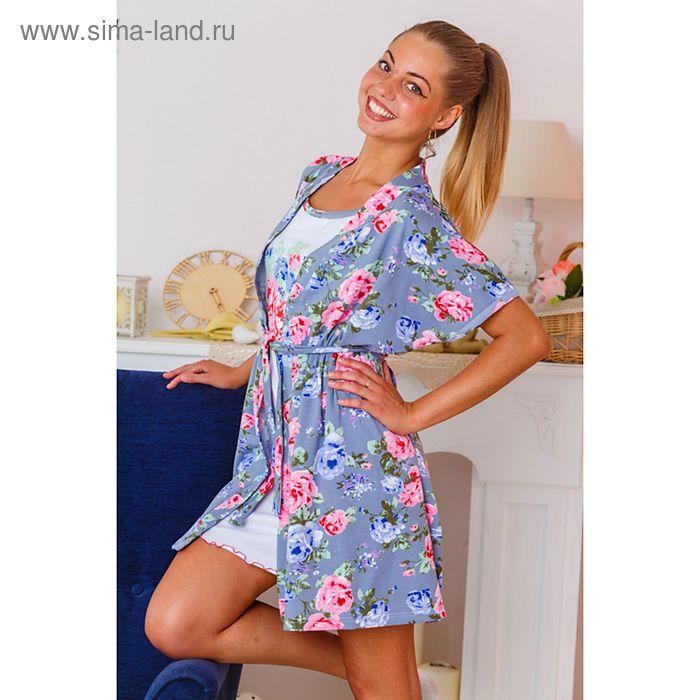 Комплект женский (халат, сорочка) 8074 серый/белый, р-р 52 фуллайкра