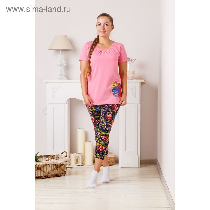Комплект женский (футболка, капри) 8075 персик/синий, р-р 56 кулирка/фуллайкра