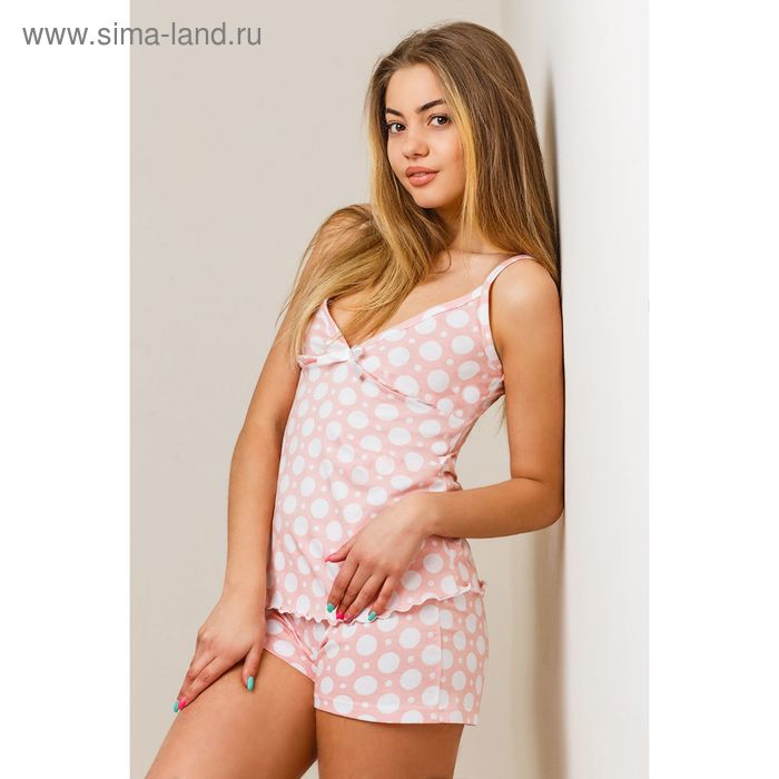 Комплект женский (топ, шорты) 8394 белый, размер 48, кулирка