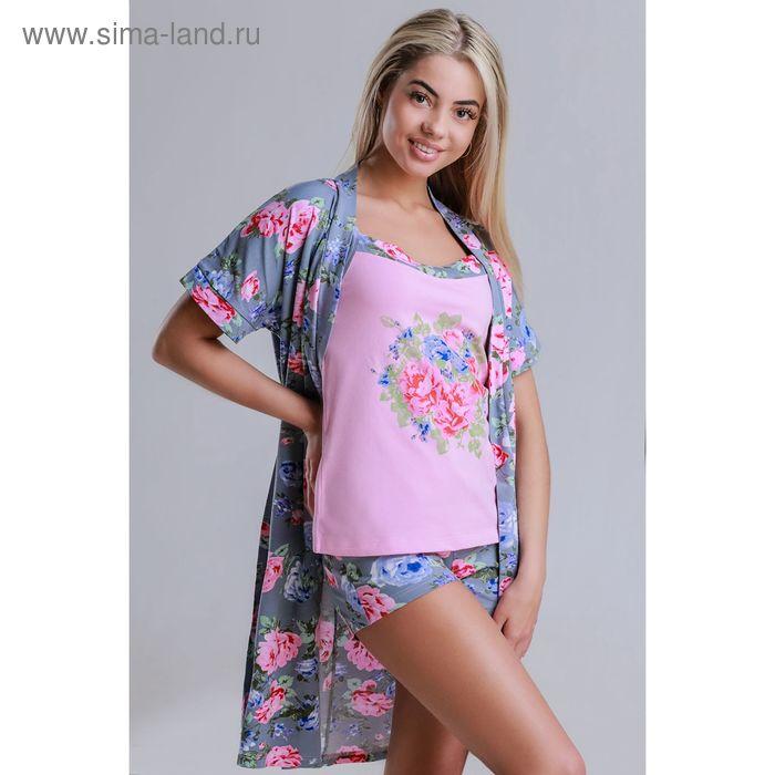 Комплект женский (халат, топ, шорты) 8224 серый, р-р 44 фуллайкра