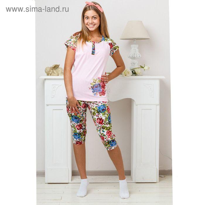 Комплект женский (футболка, бриджи) 8229 розовый. размер 50, кулирка
