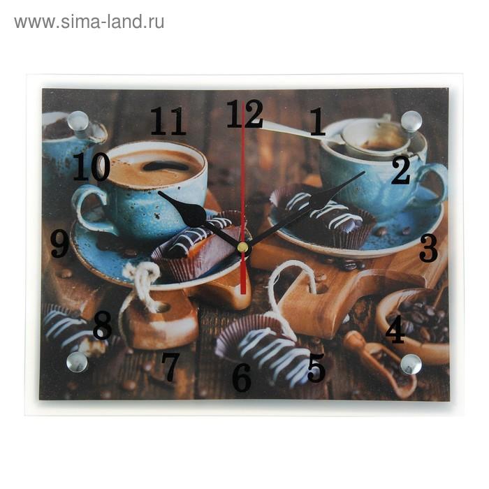 """Часы настенные прямоугольные """"Кофе и конфеты"""", 20х25 см"""