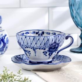 """A couple of tea """"Alevtina"""", 14×14×8 cm, 0.25 l, Gzhel"""